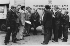 RKB with NUPE Area Officer [Richard Jewison] and members in Portsmouth NHS Supplies involved in boycotting South African produce