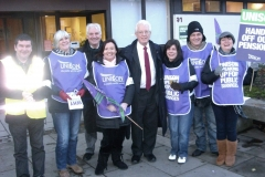 With West Lothian pickets - Pensions strike May 2010