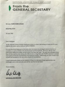 Letter to staff